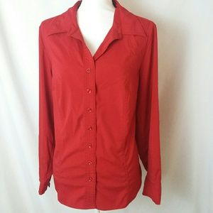 LANE BRYANT Red Button Down Shirt